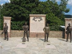 "pictured are statues of the southern rock group ""alabama"". also known as ""the boys from fort payne"" randy owen, teddy gentry, jeff cook, and mark herndon founded the rock group in fort payne. ""alabama"" had over 20 hits such as ""my home's in alabama"", ""feel's so right"", ""mountain music"" and more. in modern times the members of ""alabama"" were fort paynes most famous residents. the ""alabama"" museum and fan club is located at 101 glenn blvd, s.w. (AL 35) just west of downtown."