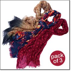 "Multi-Print Scarf Pack Three luxuriously soft scarves (leopard, floral and polka dot). Each, 72"" x 18"". Viscose. Hand wash, dry flat. Imported. Item#: 088-507 Price: $29.99 pack of 3"