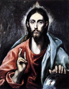 Christ blessing (The Saviour of the World)  - El Greco