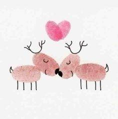 Christmas card fingerprints reindeers idea :)