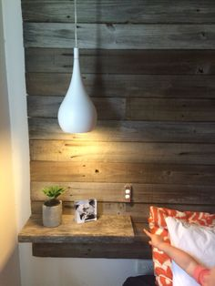 11 Bedside Lighting Wall Mounted Headboards nightstand & Bedside DIY homemade recycled timber headboard with floating Pendant Lighting Bedroom, Lamp, Diy Headboards, Bedside Pendant Lights, Bedside Lighting, Bedroom Lighting Diy, Wall Mounted Headboards, Cool House Designs, Pendant Lamps Bedroom