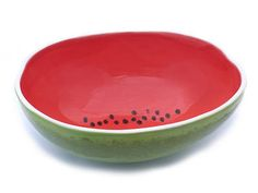 Handmade earthenware bowl molded from a real watermelon.