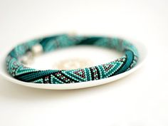 Made to order Bead Crochet Necklace Deep Turquoise by Chudibeads, $125.00