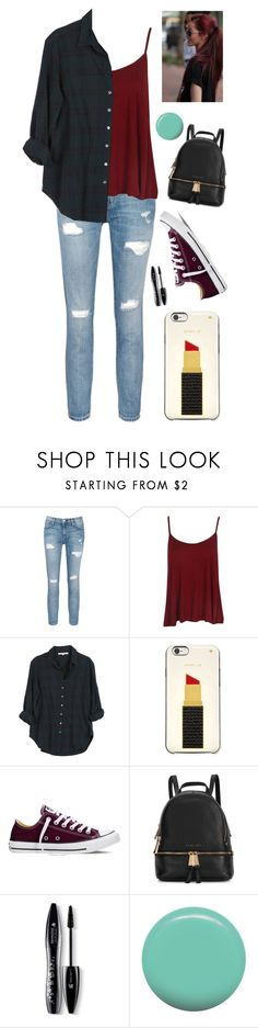 """""""Untitled #1290"""" by sapnu2015 ❤ liked on Polyvore featuring Current/Elliott, Xirena, Kate Spade, Converse, Michael Kors, Lancôme and Jin Soon"""