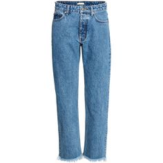 H&M Straight Regular Jeans $39.99 (2.065 RUB) ❤ liked on Polyvore featuring jeans, blue denim jeans, frayed jeans, frayed denim jeans, thick denim jeans and h&m jeans
