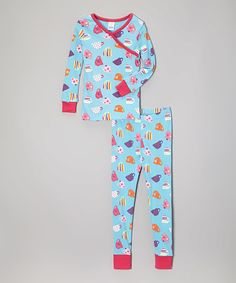 Another great find on #zulily! Blue Fancy Cups Organic Pajama Set - Toddler & Girls by P Love #zulilyfinds