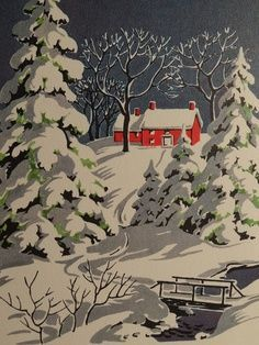 1950s Christmas Scenes houses | 1950s Winter Snow Scene, Vintage Christmas Card