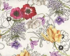 Feiner Italienischer Leinenstoff PRIMAVERA, Frühlingsblumen, fuchsia-gebrochenes weiß