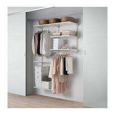 IKEA - ALGOT, Wall upright/shelves/rod, white, The parts in the ALGOT series can be combined in many different ways and easily adapted to your needs and space. Can also be used in bathrooms and other damp indoor areas. Ikea Algot, Elvarli Ikea, Armoire Ikea, Plastic Shelves, Ikea Family, Home Office Organization, Closet Storage, Storage Room, Home Furnishings