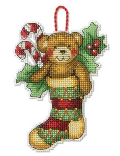 Bear Ornament Cross Stitch Kit  #crossstitch #crossstitchkit #christmasornament…