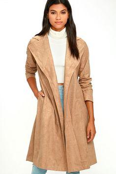 #AdoreWe #Lulus Womens - Designer Lulus Must-Have Tan Suede Trench Coat - AdoreWe.com