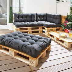 Seat cushions for Euro pallets anthracite) - Danish bed storage - Sitzkissen Palette - Decor Pallet Garden Furniture, Balcony Furniture, Diy Furniture, Furniture Makeover, Palette Furniture, Furniture Stores, Furniture Removal, Furniture Plans, Rustic Furniture