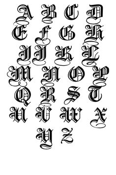 Calligraphy Alphabet Caligraphy Tattoo Fonts Alphabet Calligraphy Fonts Graffiti Lettering Hand Lettering Fonts Creative Lettering Lettering Design Old English Font Calligraphy Fonts Alphabet, Tattoo Fonts Alphabet, Hand Lettering Alphabet, Graffiti Alphabet, Tattoo Lettering Styles, Graffiti Lettering Fonts, Tattoo Script, Lettering Design, Gothic Alphabet
