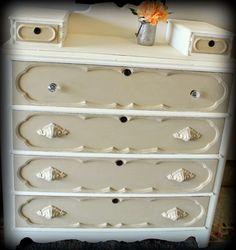 Painted antique dresser CeCe Caldwell's Paint painted furniture Vintage White, Myrtle Beach Sand