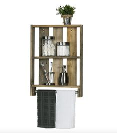 Add rustic style to your home with this reclaimed wood bathroom shelf. Made from barn and fence wood, each piece is full of unique character. Featuring two spacious shelves for your toiletries and decor, the shelf also has a convenient towel bar. Bathroom Shelving Unit, Bathroom Wall Cabinets, Wood Bathroom, Bathroom Furniture, Small Bathroom, Bathroom Ideas, Neutral Bathroom, Bathroom Laundry, Big Bathrooms