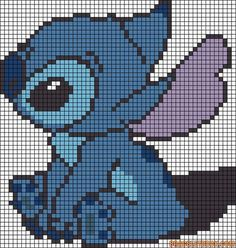 Stitch - from Lilo and Stitch. Hate the little Alien but my wife loves him so would make this for her! Stitch - from Lilo and Stitch. Hate the little Alien but my wife loves him so would make this for her! Pixel Art Templates, Perler Bead Templates, Cross Stitching, Cross Stitch Embroidery, Embroidery Patterns, Disney Cross Stitch Patterns, Cross Stitch Designs, Alpha Patterns, Canvas Patterns