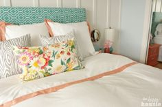 We really love the fresh, bright cottage-yet-elegant feel to our Master Bedroom. We started with some DIY floor to ceiling Board and Batten and then reupholster… Linen Bedroom, Bedroom Wall, Master Bedroom, Bedroom Decor, Bedroom Ideas, Wall Decor, European Home Decor, Diy Flooring, Cottage Style
