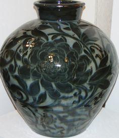 Midnight Carved Peony Vase by Miranda Thomas