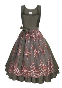 schmittundschäfer Dirndl Roses brown (like the smooth dress against the highly decorated apron)