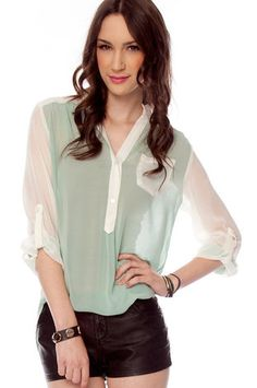 Compare and Contrast Button Down Blouse in Mint $30 at www.tobi.com