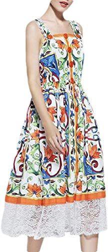 Buy Gaga Women S Floral Print Sling Dress Button Down Swing Midi