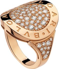 BVLGARI-BVLGARI 18ct pink-gold and pavé-#diamond ring