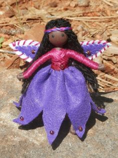 Miniature Ethnic Flower Fairy Bendy Doll- Dollhouse doll - African American Fairy Doll