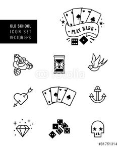 Vecteur : tattoo icon set, rockabilly and old school design.