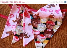40% OFF Bunting Sale, Cupcakes and Cowgirls Fabric Bunting Flag Banner Photo Prop Birthday Party Decoration, Featuring 5 Large Flags. on Etsy, $15.00