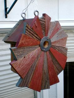 Flower-patterned Rustic Birdhouse From Reclaimed Barnwood And Metal Roofing