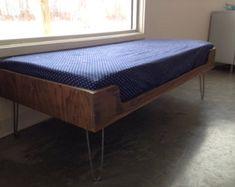 Mid century modern minimalist plywood window seat with hairpin legs
