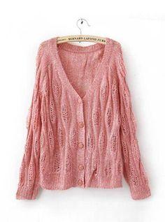 Pink Sequins Crochet Knitting Cardigan$42.00