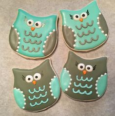 Baby shower owl cookie