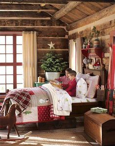 Reading Christmas stories and waiting for Santa.