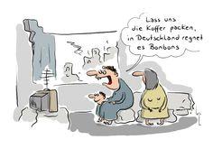 Kamelle statt Kamele: Warum die Flüchtlinge wirklich nach Deutschland kommen. (Quelle: Cartoon AG)