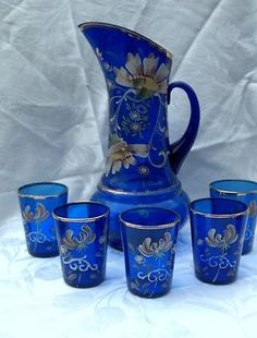 Painting of Nice and Elegant Cobalt Blue Drinking Glasses