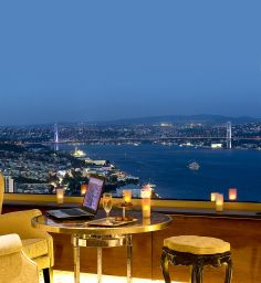 Gazing at the Bosphorus from Marmara Taksim Hotel in Istanbul - Turkey