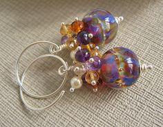 Lampwork Gemstone Cluster Beaded Earrings by BeguiledByTheBead,