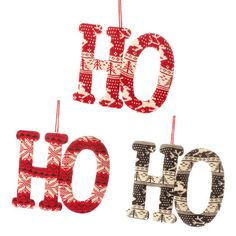 RAZ Sweater HO HO HO Christmas Ornaments - Shelley B Home and Holiday