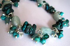 Charmed bracelet with turquoise, aquamarine, apatite, & Swarovski crystals in sterling silver | Flickr - Photo Sharing!