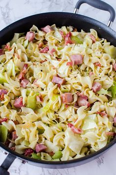 Cabbage & Noodles with Ham (Haluski)