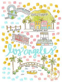 LA Map Print www.evelynhenson.com