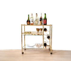 Vintage Gold Bar Cart Faux Bamboo Gold Tone Metal Rolling