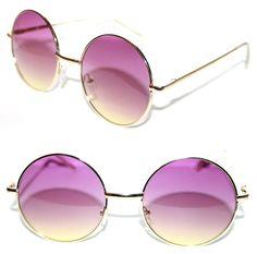 b38318889 Women's Round Shape Sunglasses two tone Gradient lens Pink Yellow Potter  Metal #Stars #Round