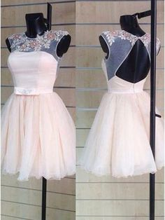 High Collar Sleeveless Tulle Beaded Appliqued Style Short Homecoming Dress Cocktail Dresses#SIMIBridal #homeocmingdresses