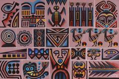 """Loïs Mailou Jones """"Glyphs,"""" 1985, acrylic on canvas (Courtesy of the Museum of Fine Arts)"""