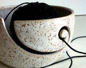 Burgundy Rustic Spiral Ceramic Wheel Thrown Yarn Bowl - MADE TO ORDER. $38.00, via Etsy.