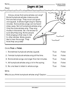Reading Comprehension Worksheet: nonfiction whales