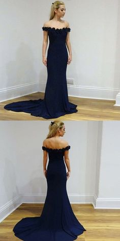 2019 Dark Navy Prom Dresses Long, Mermaid Prom Dresses For Teens, Tulle Prom Dresses Open Back, Lace Prom Dresses Off The Shoulder Navy Blue Prom Dresses, Prom Dresses For Teens, Prom Party Dresses, Trendy Dresses, Fashion Dresses, Bridesmaid Dresses, Dress Prom, Grad Dresses, Elegant Dresses