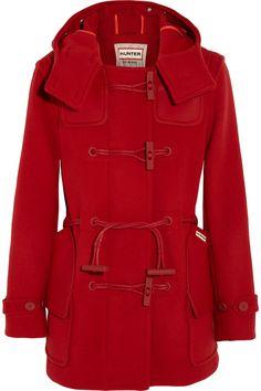 Hunter Leather-paneled wool-blend duffle coat NET-A-PORTER.COM